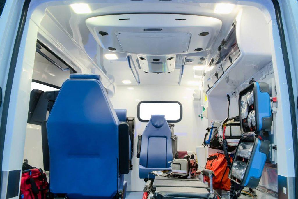 Intérieur d'une ambulance